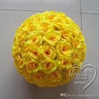 achat en gros de rose jaune baiser balle-6inch 15 CM New artificiels Yellow Rose fleur en soie boules à baiser pour les fournitures de fête de Noël Ornements Décorations de mariage
