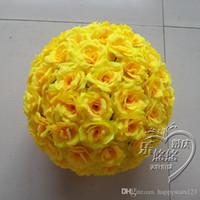 al por mayor rosa amarilla besar bola-6inch 15 CM Nuevo artificiales Rose amarilla de seda de flores Kissing Balls fuentes de la fiesta de Navidad Adornos de boda Decoraciones