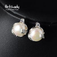 artilady - Artilady Fresh water pearl earrings fashion women oval crystal stud earrings for women jewelry party gift