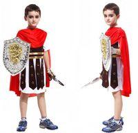 achat en gros de armure cosplay-Hot vendent chevalier romain cosplay Costume Costumes d'Halloween pour garçon Enfants Brave Armure guerriers vêtements de fête Livraison gratuite