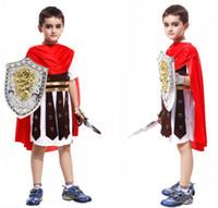 al por mayor cosplay armadura-Los trajes romanos de Víspera de Todos los Santos de Cosplay del caballero de la venta caliente para el muchacho embroma la ropa valiente del partido de los guerreros de la armadura que envían libremente