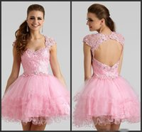 bac black - Pink Sweet Lace Homecoming Dresses V Neck Short Party Dress Crystals Dressed Graduation Gowns Cap Sleeves Mini Backless Open Bac