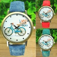 auto jean - Women s Fashion Bike Bronze Jean Fabric Band Quartz Analog Wrist Watch SOD