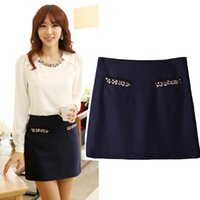 Cheap Free Shipping Office Formal Skirts Women 2013 Autumn Fashion Elegant Colorful Rhinestones Slim A Line Skirt With Pockets D58283