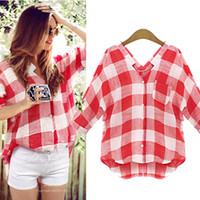 Wholesale New Women s Plaid Loose Shirts Girl Casual Oversized Blouse Plus Size V neck Summer Fashion Tops M XL