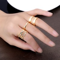 Cheap Wholesale-Fashion Vintage Korean Style 3pcs lot Metal Ring Hollow Out Leaves Band Midi Mid Finger Knuckle Ring Set High Quality Free