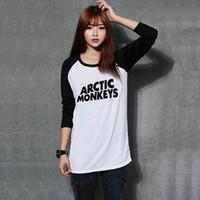 band tshirts - UK Rock Band Arctic Monkeys Womens Raglan Sleeve Logo Print T Shirt Women Printing Tshirts Loose Shirts European American Style