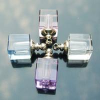 Pendant Necklaces assorted perfume bottle - 16X19MM Crystal Plain Vials Square assorted colors essential oil bottle crystal bottle pendant Perfume pendant
