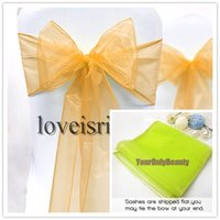 Wholesale Gold quot cm W x quot cm L Sheer Organza Sashes Wedding Party Banquet Chair Organza Sash Bow
