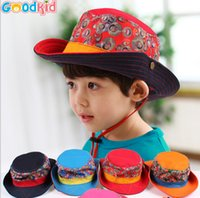 Cheap Spring Summer new 2015 children hats smiling face scrawl kids bucket hat national style with rope child sunhat 10pcs lot 3-6age ab1050