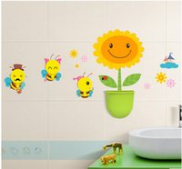 bathroom bucket set - Creative Match Cartoon Wall Stickers Hooks Storage Bucket Sets Decals Home Decor Strong Seamless Stick for Bathroom Kitchen