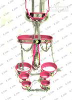 großhandel chastity bra-Male T-Typ-Keuschheitsgürtel BDSM Keuschheitsgürtel mit Cock Cage Harnröhren + Halsband + Handschellen + Oberschenkelmanschetten + Fußfesseln + Anal Plug + BH