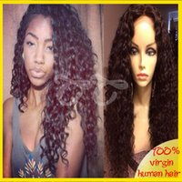 Wholesale 100 unprocessed peruvian virgin human hair deep curly silk top lace front wig full lace wigs free part