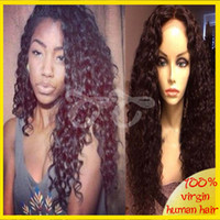 Wholesale Soft unprocessed peruvian virgin hair loose curly silk top lace front wig silk top full lace wigs can part anywhere