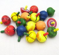 Wholesale New Design Hot Sale Wood Fruit Spinning top Classic Children Educational Toy Baby Play Fun Colorful Hand toy