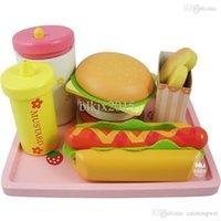 Wholesale Baby Toys Strawberry Hamburger Shop Play Food Wooden Toys Hamburger Set Hot Dog Set Kids Kicthen Toys Birthday Gift