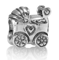 Silver baby carriage charms - New Baby Carriage Charm ALE Sterling Silver European Charm Bead Fit Bracelet Snake Chain Fashion Jewelry