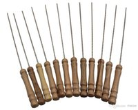 Wholesale BBQ Wooden Handle set Roasting Needle Protable Outdoor Picnic Metal iron Barbeque Skewers BBQ Kebab Sticks cm