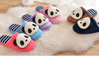 Wholesale Cute Winter Warm Panda Cotton Candy Slippers With Striped Bottom For Unisex Women Men Couples Indoor Non slip Cartoon Scuffs Christmas Gift