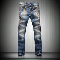 best jeans for man - Blue Straight Jeans for Men European Style Casual Design Trousers Zipper Fly Best Men Jeans Mid Waist for Sale NZK