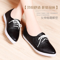 Cheap Women Genuine Leather Lace Up Flat Heels Shoes 2015 New Arrival