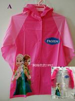 Wholesale Frozen Raincoat Children Rain Cape Cartoon Pattern Elsa Anna Design Kids Child PVC Hooded Rain Coat Rainwear Styles