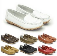 Wholesale Hot Sales Women Lady Casual Flat Work Walking Moccasin PU Leather Shoes Loafers Flats Anti slip Pumps Ex37
