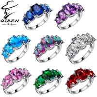 Wholesale 925 sterling silver rings women fashion AAA CZ diamond ring wedding jewelry Christmas Gift high Quality multicolor stone