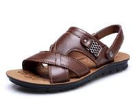 Precio de Hombres zapatos nuevos estilos-la venta del nuevo estilo sandalias respirables en verano zapatos de la boda de los novios fresca y zapatos de la playa del cuero de los hombres de los hombres del ocio de las sandalias refrescantes NLX68