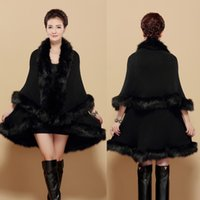 cape coat plus size - Fur coat New women Winter Warm Long Coat Red Black Faux fur cape Plus Size Women fur collar coat