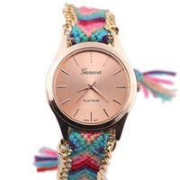 auto national - Popular Vine Watches Round Dial Ladies Designer Watches National Style Braided Rope Strap Wrist Watches Online w