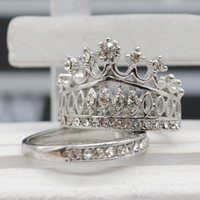 Wholesale 2pc New Fashion Rhinestone Crown Rings For Women Elegant Luxury CZ Crystal Party Engagement Ring Set Jewelry Y50 SS0192 M5