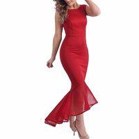 Wholesale 2015 Fashion Womens Dress Vintage Sleeveless O neck Bodycon Patchwork Mermaid Maxi Long Elegant Ladies Party Dresses Clubwear FG1511