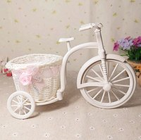 Wholesale Plastic Rattan tricycle vase Storage Basket home decoration