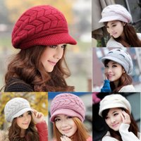 Wholesale Stylish Chic Caps Warm Winter Women Crochet Knit Braided Beanie Wool Hats Earmuff Cap Brim Visor