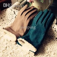 Fingerless Gloves finger gloves Gloves & Mittens Wholesale-Winter thermal gloves sewing thread solid color wool gloves cashmere yarn wool line knitted gloves female
