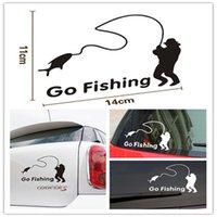 Car-Styling manera de la historieta Negro / Blanco Viejo People Go Fishing etiqueta engomada del coche de DIY para Coches Accesorios Decoración 1pcs / lot