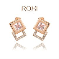 Wholesale 015 ROXI Christmas Gift Square Earrings For Women Brincos Grandes Rose Gold Plated Earrings Fashion Jewelry