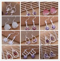 earrings sexy - Mixed order pair Sterling silver jewelry Crystal Dangle Earrings fashion party sexy woman Top quality for