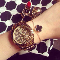 big leopard - 2015 Fashion Women Wristwatch Gold Silver Leopard watch Stainless steel Lady Watch Big Dial Watch brand watch