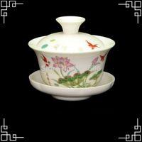 Gros-porcelaine 100ml thé en céramique Coupe gaiwan Porcelaine Kungfu Tea Set Fleur chinoise Peinture Service à thé Dinkware