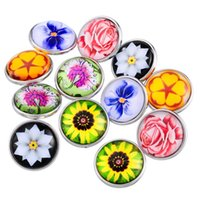 Wholesale Glass Cabochon Flower Four Leaf Clover Noosa Chunks Beads Charms Button Snap Fit Fastener DIY Noosa Bracelet Snap Jewelry Buttons