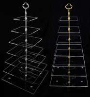Wholesale 7 Tier Clear Acrylic Square Crystal Cake Stand Glass Tiered Cupcake Stand Free Fedex