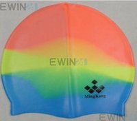 Wholesale x New Colorful Adult Silicone Swim Cap Flexible Durable Elasticity Swimming Hat
