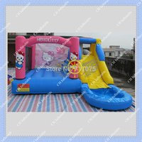 Wholesale HOT Hello Kitty Inflatable Slide Pool Commercial Bouncy Castle DHL Inflatable Bouncer with pool and slide