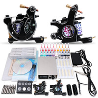 Wholesale Complete Tattoo Kit Guns Machines Colors Inks Sets Disposable Needles Power Supply Tips Grips MGT Beginner Starter Kit
