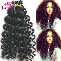 Cheap LUFFY New 8A Remy Brazilian Loose Curly Stick Flat-tip Human Hair Extensions 100grams 100s Natural Color