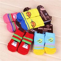 Wholesale 2015 New Cute Puppy Dogs Pet Knits Socks Anti Slip Skid Bottom Socks Hot Sale Fashion