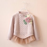 Cheap 2015 Autumn Children 3D Flower Brooch Girls Long Sleeve Sweater Organza Hem Girl Princess Dressy Childs Clothing High Quality