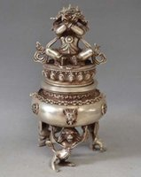 Wholesale Tibet Tibetan Silver Bronze Mahakala Buddha Incense Burner Censer